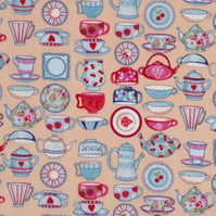 Cotton Quilting Fabric - Makower Tea Time China - Remnant