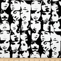 Remnants - Cotton Fabric - Alexander Henry In Crowd Faces Black White Pop Art