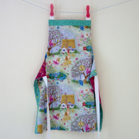 Girls Reversible Apron - Fairy Cottage and Unicorns