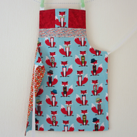 Reversible Apron - Mr Fox and the Stars and Stripes - Blue, Orange, Red