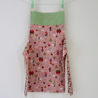 Girls Apron - Reversible - Red Riding Hood and the Strawberries - Sale