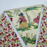 Nursery Rhyme Bunting with Vintage Fabric - Reversible Bunting