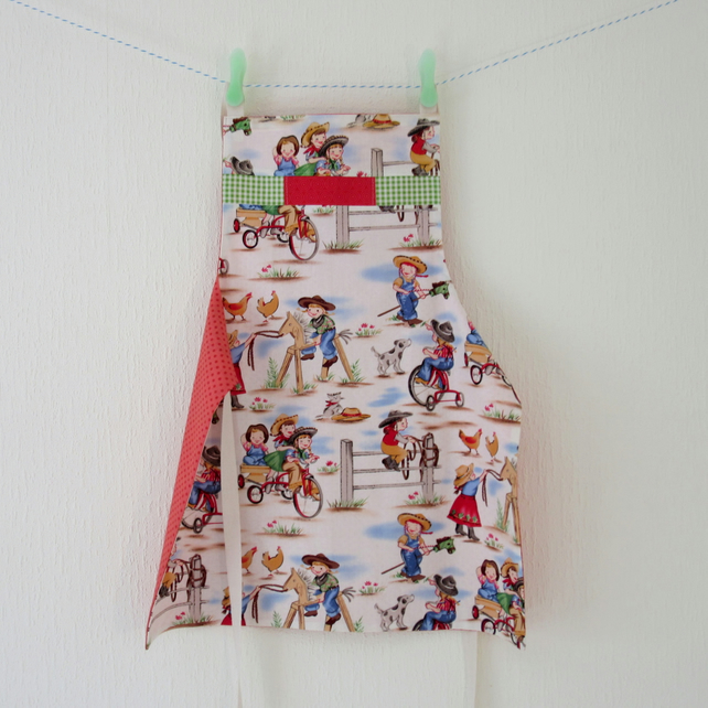 Reversible Childs Apron with Pocket - Cowgirls and Mummy Bees
