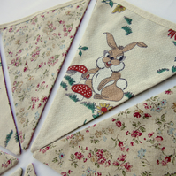 Vintage Fabric Nursery Bunting - Reversible - Bambi and Floral