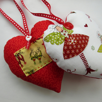 Two Fairy Hearts - Hanging Christmas Decorations - Reversible