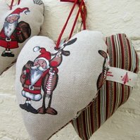 Three Nordic Hearts - Santa And Rudolph Reindeer Hanging Christmas Decorations