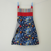 Reversible Apron - Space Rocket and Vintage Aeroplanes - Red and Blue