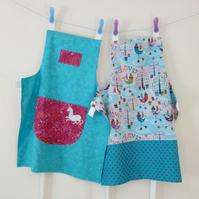Girls Reversible Apron - Love Birds and Dancing Unicorns