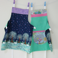 Child Reversible Apron - Swan Lake and Fairy Cottage