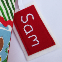 Embroidered Name Tag for Stocking or Santa Sack - Personalised