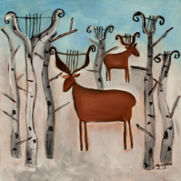 Original Acrylic Painting, Winter Painting with Deer, Birch Trees and Animal Art