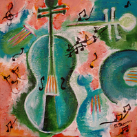 Music Violin Painting, Turquoise and Pink Original Art, Mixed Media Abstract Art