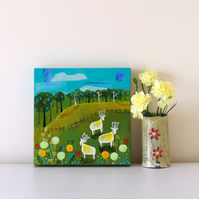 Naive Art Countryside with Sheep, Contemporary Landscape, Green Artwork