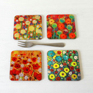 Flowers Coasters set of 4, Artist Paintings Floral Coasters, Gloss Coasters