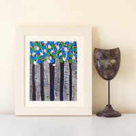 Birch Trees Art Print One Off, Art Print with Trees after Original Painting