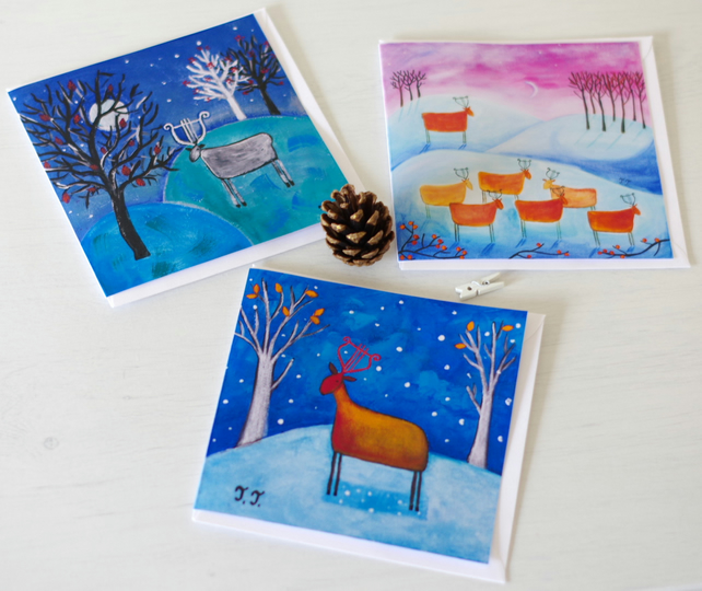 Artist Christmas Cards, Whimsical Winter Cards, Blank Greeting Cards