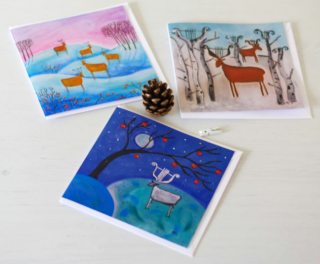 Christmas Cards Winter Wonderland, Set of Three Artist Cards, Cards with Deer
