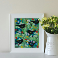 Sale - Green Naive Art with Blackbirds and Free White Frame