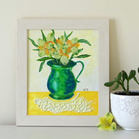 Yellow and Green Artwork, Flowers Framed Painting, Doily Collage Mixed Media