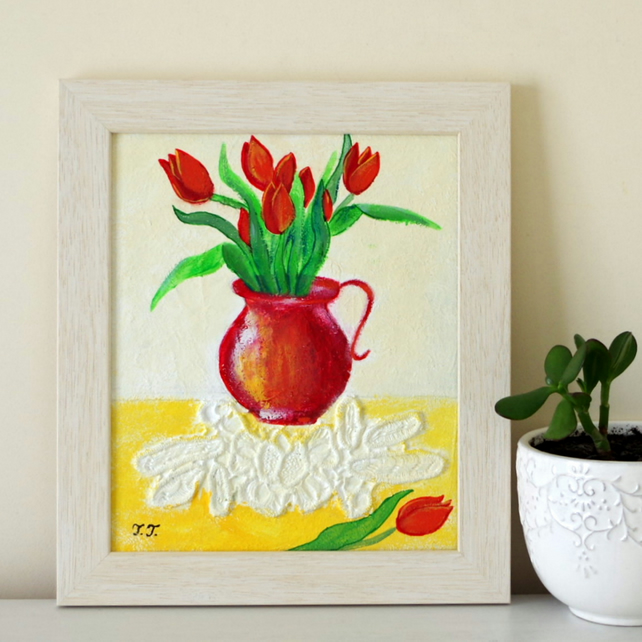 Red Tulips Painting, Flowers Framed Artwork, Mixed Media Collage Art