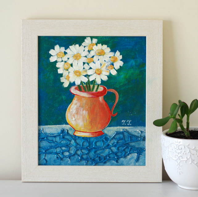 Daisy Painting, Blue Painting with Daisies, Framed Floral Artwork, Mixed Media