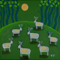 Naive Landscape Painting, Green Artwork with Sheep and Trees, Fantasy Art