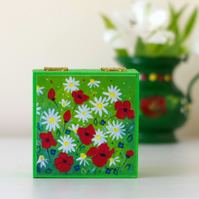 Floral Jewellery Box, Green Craft Storage, Wedding Rings Box, Small Poppy Box
