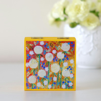 Yellow and Orange Small Trinket Box, Dandelions Floral Storage Box