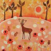 Deer Painting, Autumn Naive Artwork, Fantasy Painting, Orange Painting