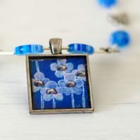 Blue Resin Pendant, Blue Beaded Necklace, Art Floral Pendant, Millefiori Beads