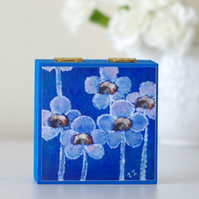 Blue Trinket Jewellery Box with Flowers Art Print, Electric Blue Storage Box