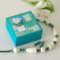 Turquoise Jewellery Set with Floral Trinket Box, Turquoise Necklace and Earrings