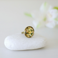 Flower Adjustable Ring, Green and Bronze Ring, Glass Ring, Floral Art Ring
