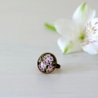 Floral Adjustable Ring, Glass and Bronze Ring with Art Print, White Flower Ring
