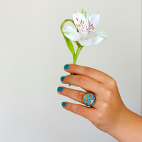 Turquoise Flowers Adjustable Ring, Floral Art Ring, Bronze and Glass Ring