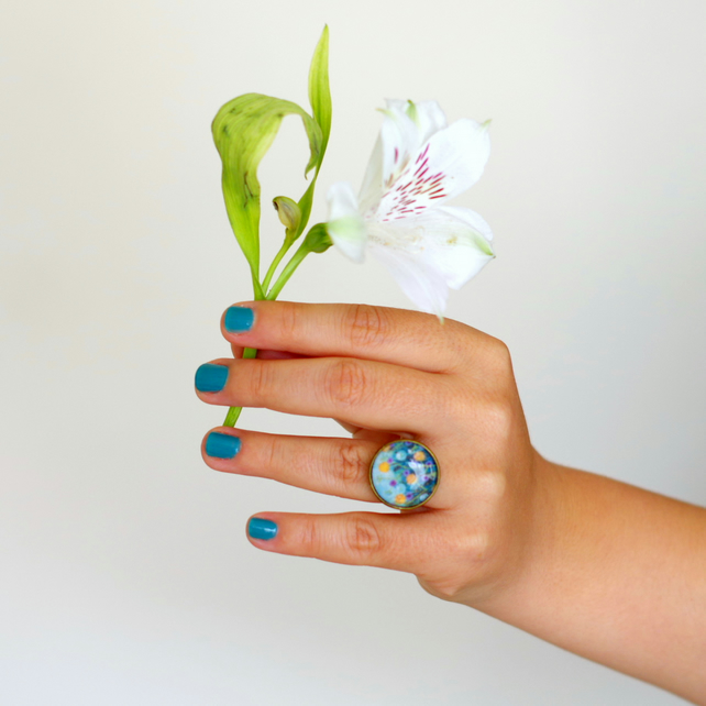 Turquoise Ring, Flower Ring, Floral Art Ring, Bronze Adjustable Ring, Glass Ring