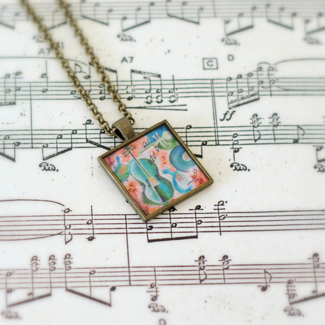 Violin Pendant Necklace, Art Resin Pendant Necklace, Bronze Pendant Necklace