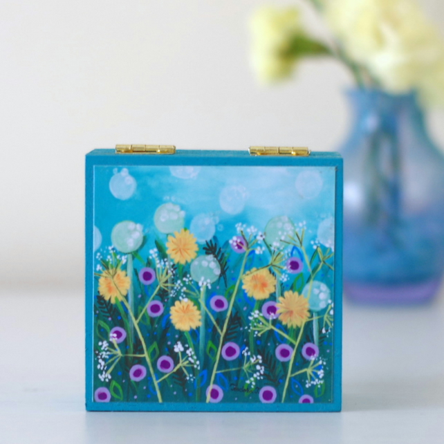 Blue Floral Trinket Box, Dandelions Art Print Box, Blue Decorative Box