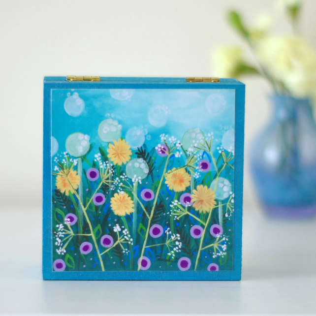 Blue Floral Trinket Box, Storage Box with Art Print, Dandelions Decorative Box