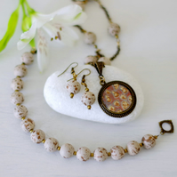 Beige Jewellery Set, Brown Resin Necklace, Beige Beaded Bracelet and Earrings