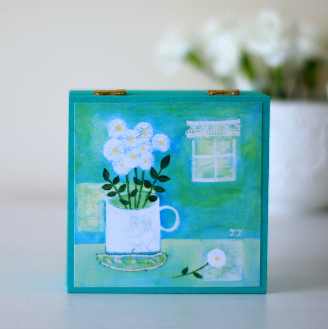 Turquoise Trinket Box, White Flowers Jewellery Box, Art Print Decorative Box