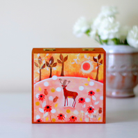 Deer Trinket Box, Brown Jewellery Box, Autumn Landscape Decorative Box