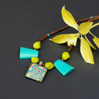 Tribal Turquoise and Brown Pendant Necklace, Art Resin Flower Pendant