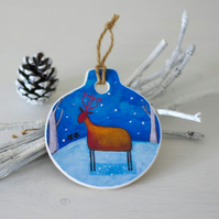 Christmas Ornament with Red Deer, Whimsical Winter Christmas Decoration