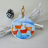 Christmas Ornament, Winter Landscape Decoration, Whimsical Ornament with Deer