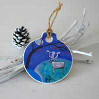 Christmas Decoration, Winter Landscape Ornament, Whimsical Christmas Ornament