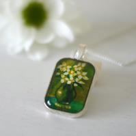 Flower Green Pendan Necklace with Still Life Art Print