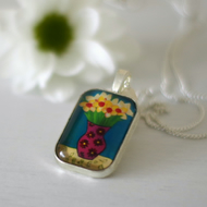 Teal Pendant with Daffodils, Yellow Flowers Pendant Necklace with Art Print