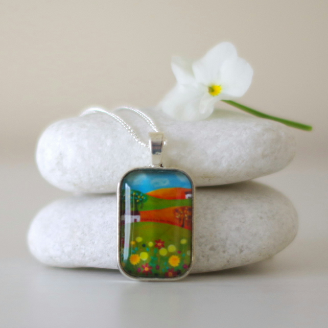 Green Pendant Necklace, Pendant with Landscape Art Print