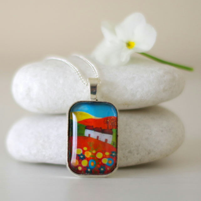 Red Pendant Necklace with Landscape Art Print